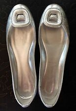 BELLE by Sigerson Morrison silver leather ballet flats square buckle size 6