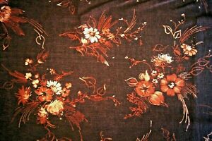 """2 Yards Brown Flowers on Brown Semi Sheer Poly-Blend Fabric 74"""" X 60"""""""
