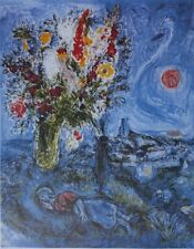 Chagall Marc: The Stud The Flowers - Lithography Numbered And Signed, 500ex
