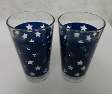 Luminarc  Water Ice Tea Tumblers Patriotic Blue Stars Lot of Two New 16 ounce