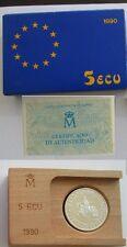 5 ECU año 1990. Alfonso X el Sabio. Peso bruto 33.60 gr. 1 ONZA DE PLATA PURA.