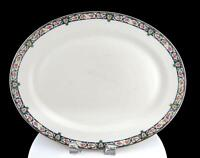 "W.G. & CO GUERIN LIMOGES FRANCE PINK ROSES & BLUE SCROLL LARGE 13 3/4"" PLATTER"