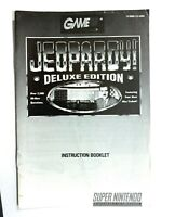 Jeopardy Deluxe Edition (SNES Super Nintendo) Instruction Manual Only... NO GAME