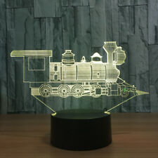 Locomotive Train 3D illusion Night Light 7 Color Change LED Desk Lamp Touch NEW