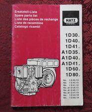 HATZ 1D30 1D40 1D41 A1D 35 40 41 1D60 1D80 DIESEL ENGINE PARTS CATALOG MANUAL