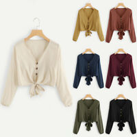 Womens Long Sleeve Loose Crop Top T Shirts V Neck Tie Front Solid Blouse T-Shirt