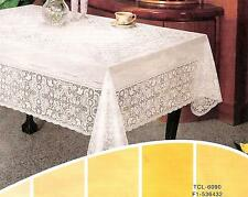 "60"" x 90"" Oblong Rectangle Vinyl Lace Tablecloth - 100% Embossed - Easy Clean"