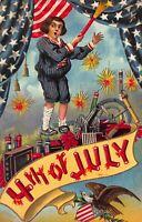 Fourth 4th of July Postcard Boy Fireworks Firecracker Cannon Patriotic~123026