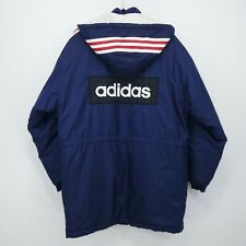 RARE Adidas Spell Out Trefoil Men's Hooded Padded Parka Coat Track Jacket Size M