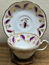 Vintage Foley Bone China V2570 Pink & Gold Leaves Gold Trim Tea Cup & Saucer Set