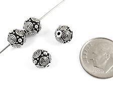 TierraCast Pewter Round Beads-ANTIQUE SILVER SPIRALS 8mm (4)