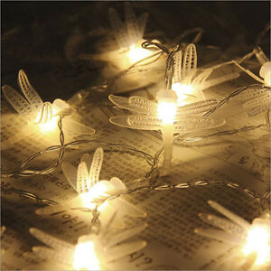 20 LED Battery Powered Dragonfly String Lights Waterproof Lighting