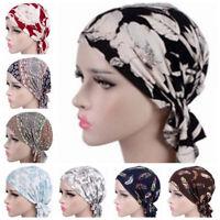 Women Muslim Stretch Turban Hat Chemo Cap Hair Loss Head Scarf Wrap Hijab Cap UK