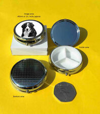 Bernese Mountain Dog Polished Metal Round Pill Box with 3 section