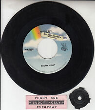 "BUDDY HOLLY Peggy Sue & Everyday 7"" 45 rpm vinyl record + juke box title strip"