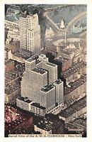 New York City~AWA Clubhouse~Aerial View~1939 Lumitone Postcard
