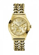NEW-GUESS GOLD TONE,MULTI FUNCTION DOUBLE LINK CHAIN BRACELET WATCH-W0439L2