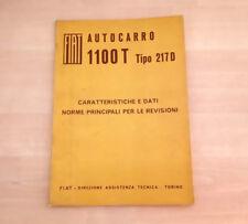 Fiat 1100 T Tipo 217D Manuale Officina Dati e Norme per le Riparazioni 1963 88pp