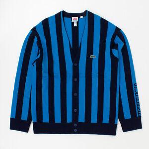Supreme Lacoste Stripe Cardigan sweater hooded camp box hat Blue Stripe Used