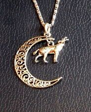 SILVER HOWLING WOLF MOON NECKLACE filigree pendant crescent coyote mystic NEW C5