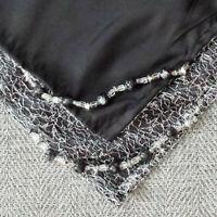 Altar Cloth, 29 Inch, Silver Sparkle Netting & Black Satin w/ Glass Beads, AC512