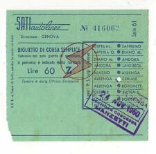 RICEVUTA BIGLIETTO AUTOBUS SATI AUTOLINEE DIREZIONE GENOVA ALBENGA 1960 2-17