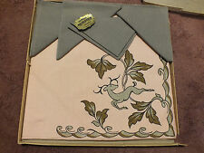 Beautiful Tablecloth 4 Napkin Bridge Set Light Pink Gray Signed Artmart Org Box