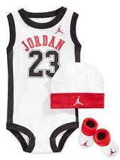NIB Nike Air Jordan Baby Boy Booties Infant 3 Piece Set 6-12 mo White Bodysuit
