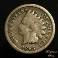 1863 Indian Head Penny 1c 030421-09E Free Shipping!