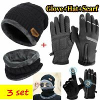 Winter 3 Piece Set Mens Knit Beanie Hat Scarf Touch Screen Ski Gloves Warm