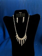 Rhinestone Double Stranded Necklace and Earring Set