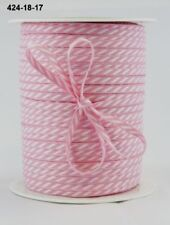 MAY ARTS RIBBONS~SOLID DIAGONAL STRIPE~PINK & WHITE~1/8TH INCH WIDE X 3 YARDS!