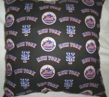 """16.5""""x16.5"""" Handmade Toss Pillow of NY Mets Cotton Print/Solid Orange Back"""