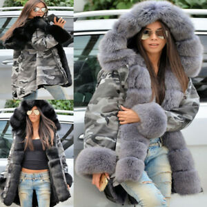 NEW Camouflage Womens Winter Coat Padded Ladies Parka Faux Fur Lined Warm Jacket