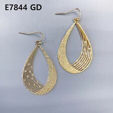 Teardrop Shape Drop Dangle Hook Earrings Simple Gold Finish Thin Rough Surfaced