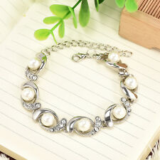 Chic Silver Chunky Chain Women Pearl Crystal Bangle Charm Bracelet Jewelry Gift