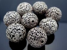 Vintage Nepal Silver Plated Copper 17mm Round Intricate Filigree Floral One Bead