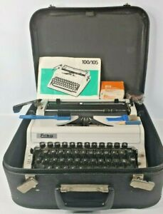 Erika 100/105 Vintage Typewriter With Case & Instructions Spare ribbon Has Issue
