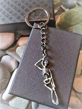 Handmade Skeleton Silver Plated Spooky Keyring/bag Charm. Gift Boxed.