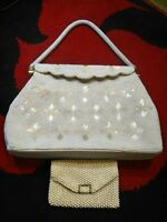 1940-50's Pre-Vintage Handmade White beaded purse with small coin pouch.