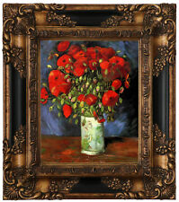 van Gogh Vase with Red Poppies Wood Framed Canvas Print Repro 8x10