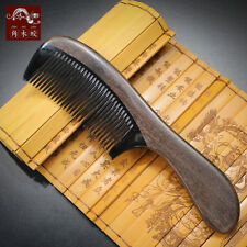Natural Black Buffalo Horn Hair Comb Fine Toothed Comb Wooden Handle Hair Brush