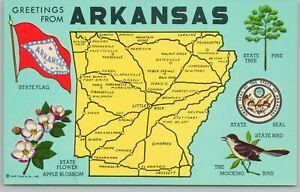 Arkansas~Map~State Flower~State Tree~State Bird~Vintage Postcard