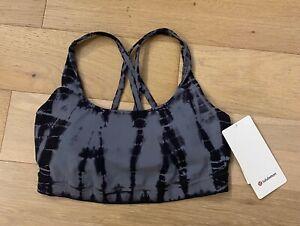 NEW Lululemon Energy Bra size 8 tie dye black grey LW2BPPS womens NWT