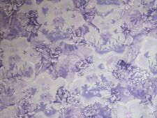 Cotton Fabric-Lavender  with Metallic Silver Fairy Dreamland Print--One Yard