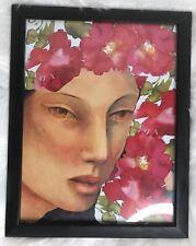 Mixed Media Art Floral Art Deco Lady 🌺Art Black Frame by Kiki Modgling