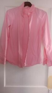 j crew womens button shirt, pink oxford, stretchy fabric, never worn, L