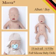 """Solid Full Silicone Newborn Lifelike Realistic 18"""" Reborn Sleeping Baby Dolls"""