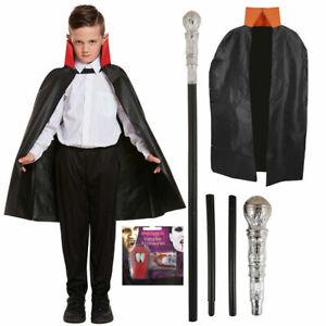 Gothic Vampire Costume Deluxe Set Boys Kids Halloween Party Dracula Fancy Dress