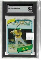 Rickey Henderson 1980 Topps rookie card SGC 8 -- Athletics
